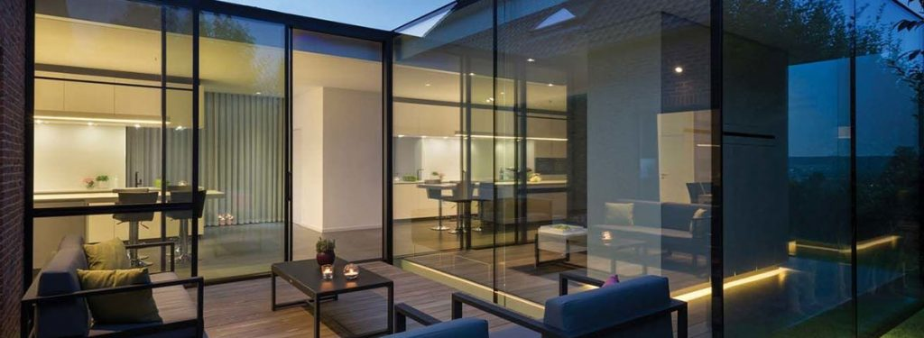 panoramic views with aluminium slimline sliding patio glass doors